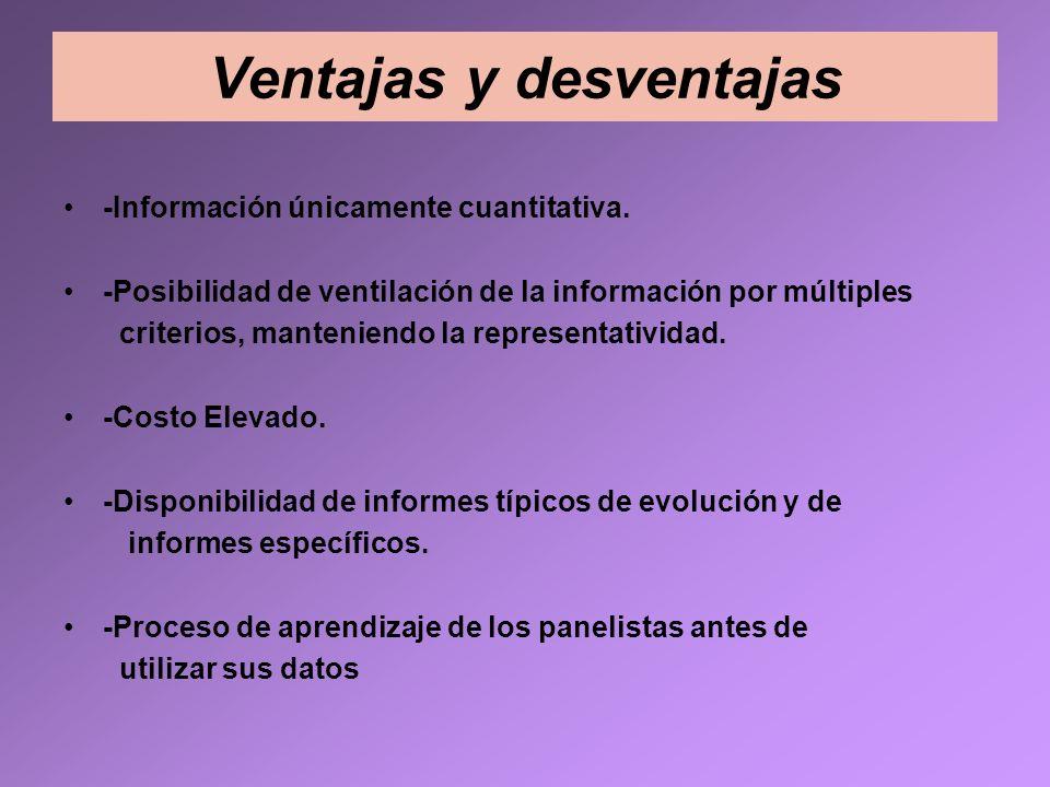 Ventajas y desventajas -Información únicamente cuantitativa. -Posibilidad de ventilación de la información por múltiples criterios, manteniendo la rep