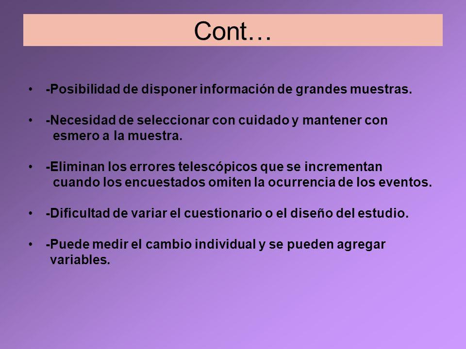 Cont… -Posibilidad de disponer información de grandes muestras. -Necesidad de seleccionar con cuidado y mantener con esmero a la muestra. -Eliminan lo