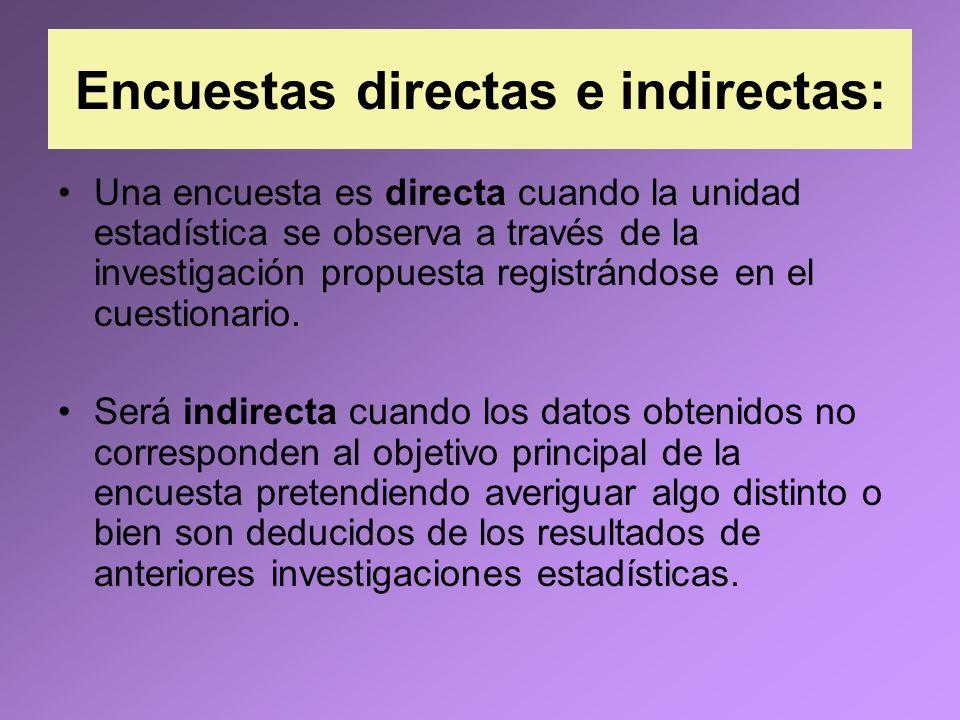 Encuestas directas e indirectas: Una encuesta es directa cuando la unidad estadística se observa a través de la investigación propuesta registrándose