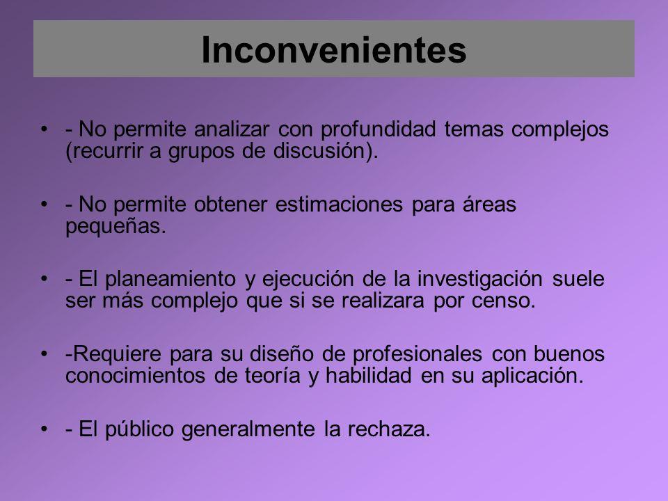 Inconvenientes - No permite analizar con profundidad temas complejos (recurrir a grupos de discusión). - No permite obtener estimaciones para áreas pe