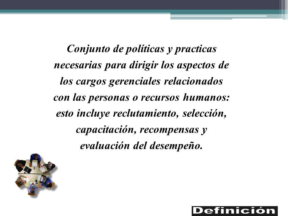 Conjunto de políticas y practicas necesarias para dirigir los aspectos de los cargos gerenciales relacionados con las personas o recursos humanos: est