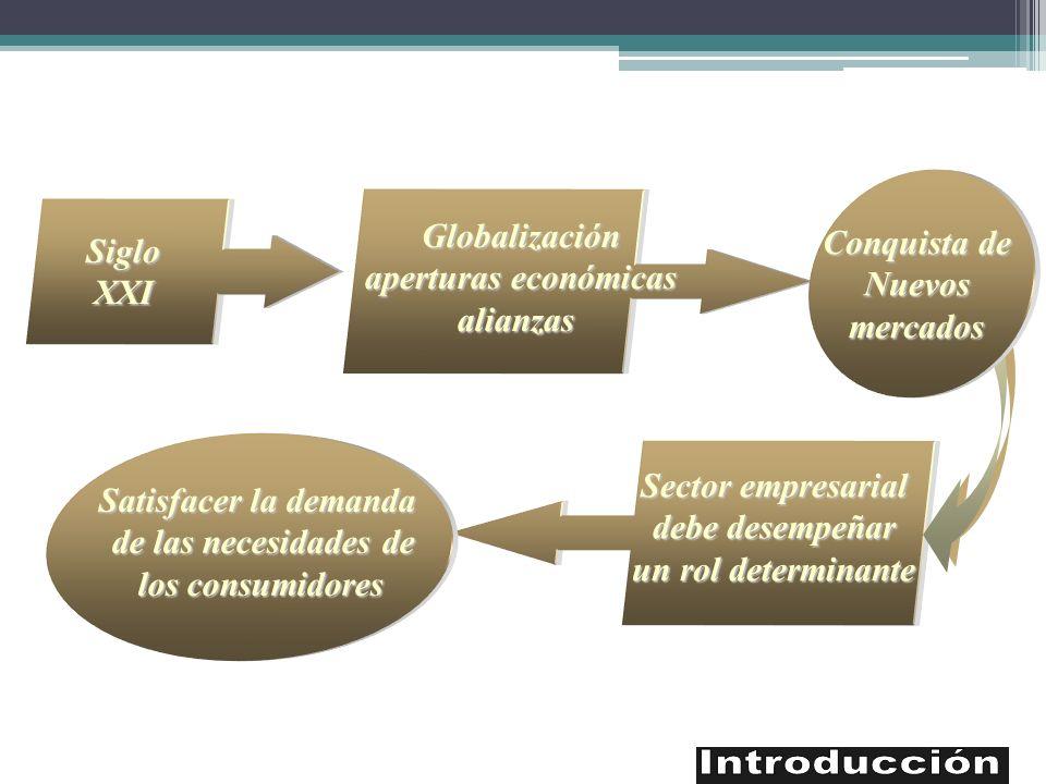 Sector empresarial debe desempeñar un rol determinante SigloXXI Globalización aperturas económicas alianzas Conquista de Nuevosmercados Satisfacer la