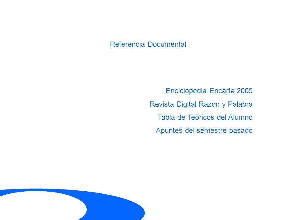 Referencia Documental Enciclopedia Encarta 2005 Revista Digital Razón y Palabra Tabla de Teóricos del Alumno Apuntes del semestre pasado