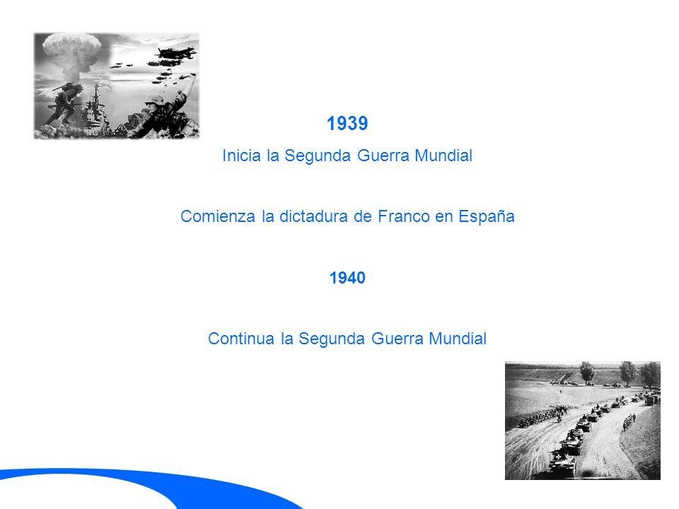 1939 Inicia la Segunda Guerra Mundial Comienza la dictadura de Franco en España 1940 Continua la Segunda Guerra Mundial