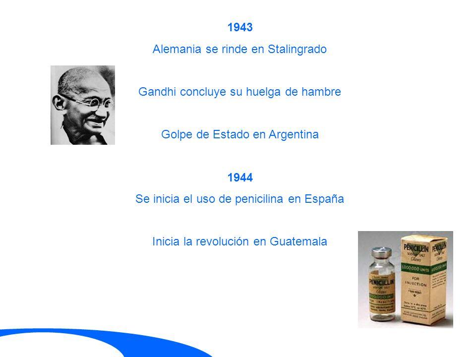 1943 Alemania se rinde en Stalingrado Gandhi concluye su huelga de hambre Golpe de Estado en Argentina 1944 Se inicia el uso de penicilina en España I