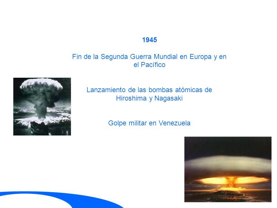1945 Fin de la Segunda Guerra Mundial en Europa y en el Pacífico Lanzamiento de las bombas atómicas de Hiroshima y Nagasaki Golpe militar en Venezuela