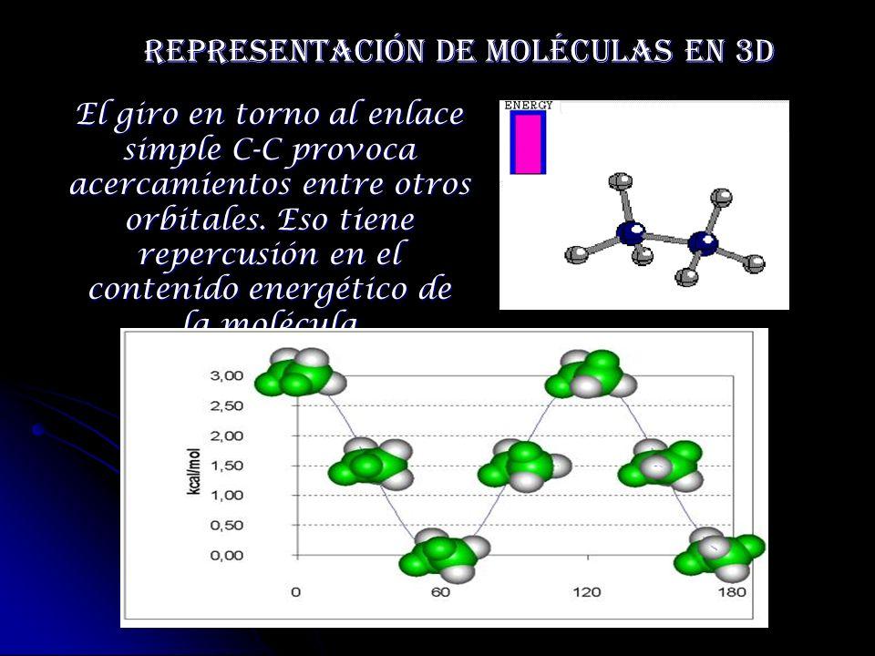 Representación de moléculas en 3D El giro en torno al enlace simple C-C provoca acercamientos entre otros orbitales. Eso tiene repercusión en el conte