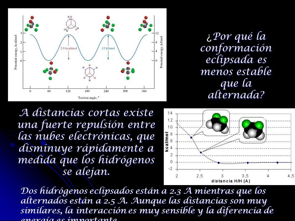 Por qué la conformación eclipsada es menos estable que la alternada? ¿ Por qué la conformación eclipsada es menos estable que la alternada? A distanci