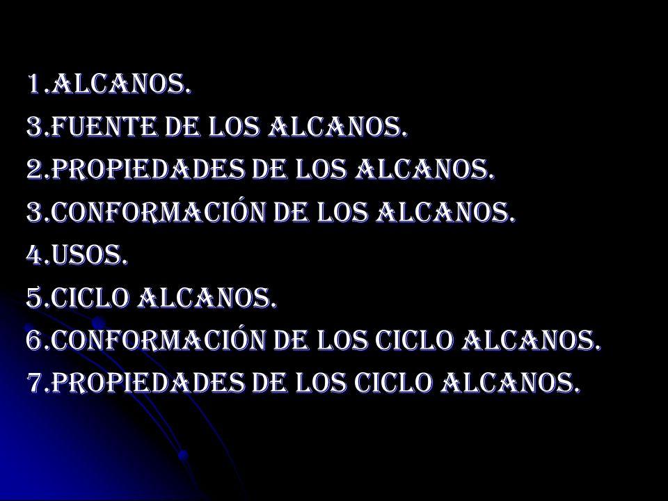 1.Alcanos. 3.Fuente De los alcanos. 2.Propiedades De Los Alcanos. 3.Conformación De Los Alcanos. 4.Usos. 5.Ciclo Alcanos. 6.Conformación de los ciclo