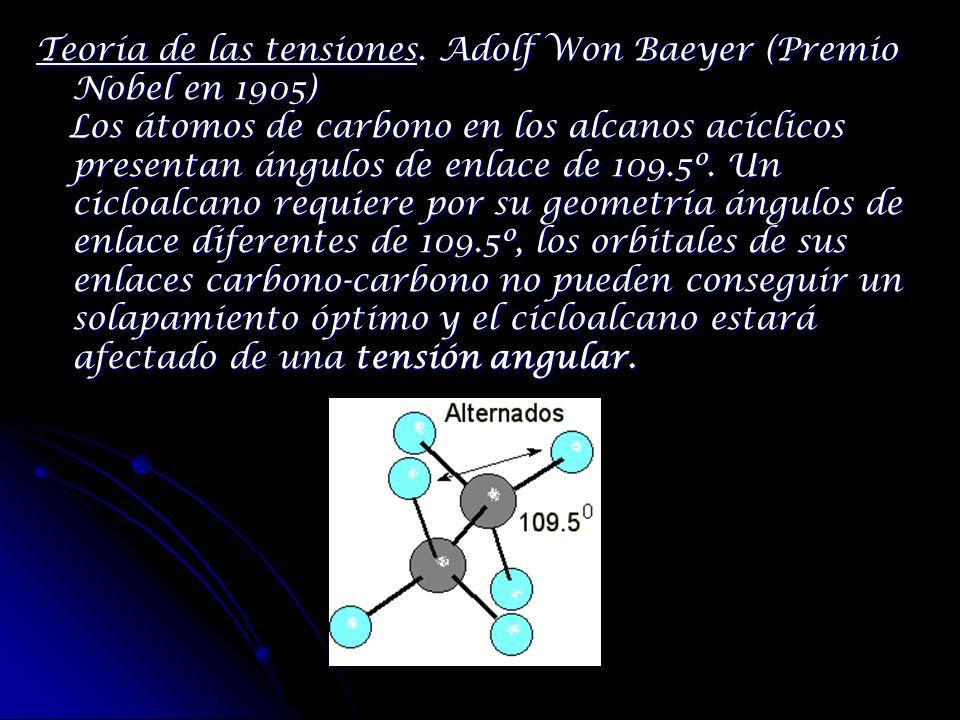 Teoría de las tensiones. Adolf Won Baeyer (Premio Nobel en 1905) Los átomos de carbono en los alcanos acíclicos presentan ángulos de enlace de 109.5º.