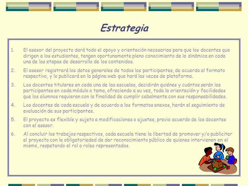Estrategia 1.El asesor del proyecto dará todo el apoyo y orientación necesarias para que los docentes que dirigen a los estudiantes, tengan oportuname