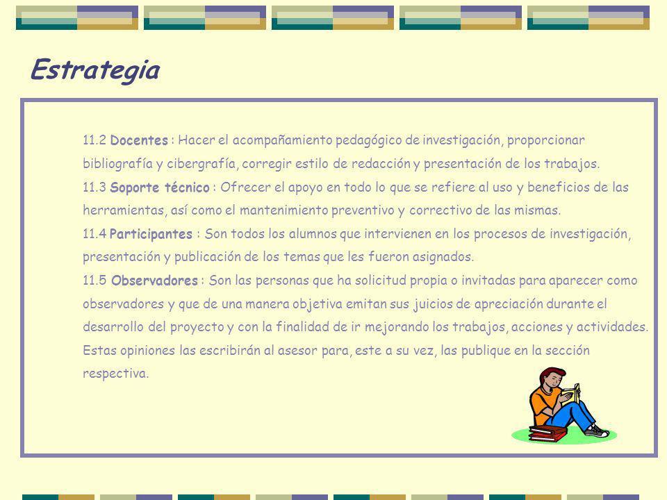 Estrategia 11.2 Docentes : Hacer el acompañamiento pedagógico de investigación, proporcionar bibliografía y cibergrafía, corregir estilo de redacción