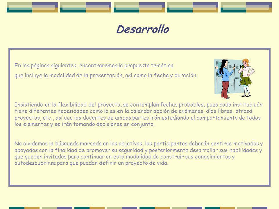 Desarrollo En las páginas siguientes, encontraremos la propuesta temática que incluye la modalidad de la presentación, así como la fecha y duración. I