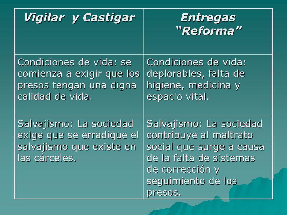 Vigilar y Castigar Entregas Reforma Readaptación de los presos: se comenzaron a crear sistemas de carreras disciplinarias para readaptar a los presos ante la sociedad.