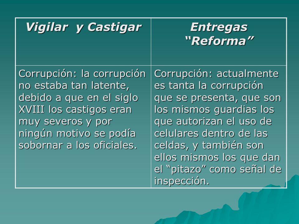 Vigilar y Castigar Entregas Reforma Corrupción: la corrupción no estaba tan latente, debido a que en el siglo XVIII los castigos eran muy severos y por ningún motivo se podía sobornar a los oficiales.