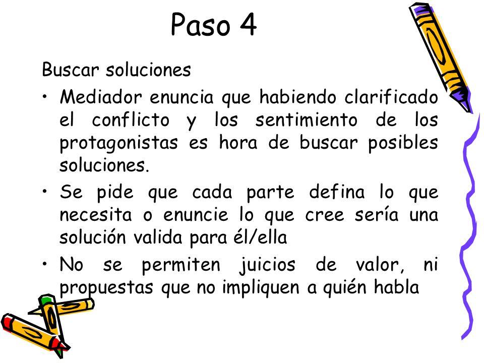 Paso 4 Buscar soluciones Mediador enuncia que habiendo clarificado el conflicto y los sentimiento de los protagonistas es hora de buscar posibles solu