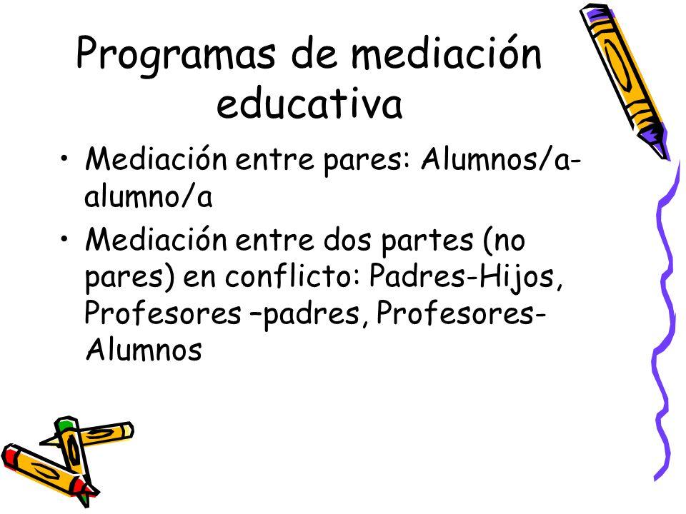 Programas de mediación educativa Mediación entre pares: Alumnos/a- alumno/a Mediación entre dos partes (no pares) en conflicto: Padres-Hijos, Profesor