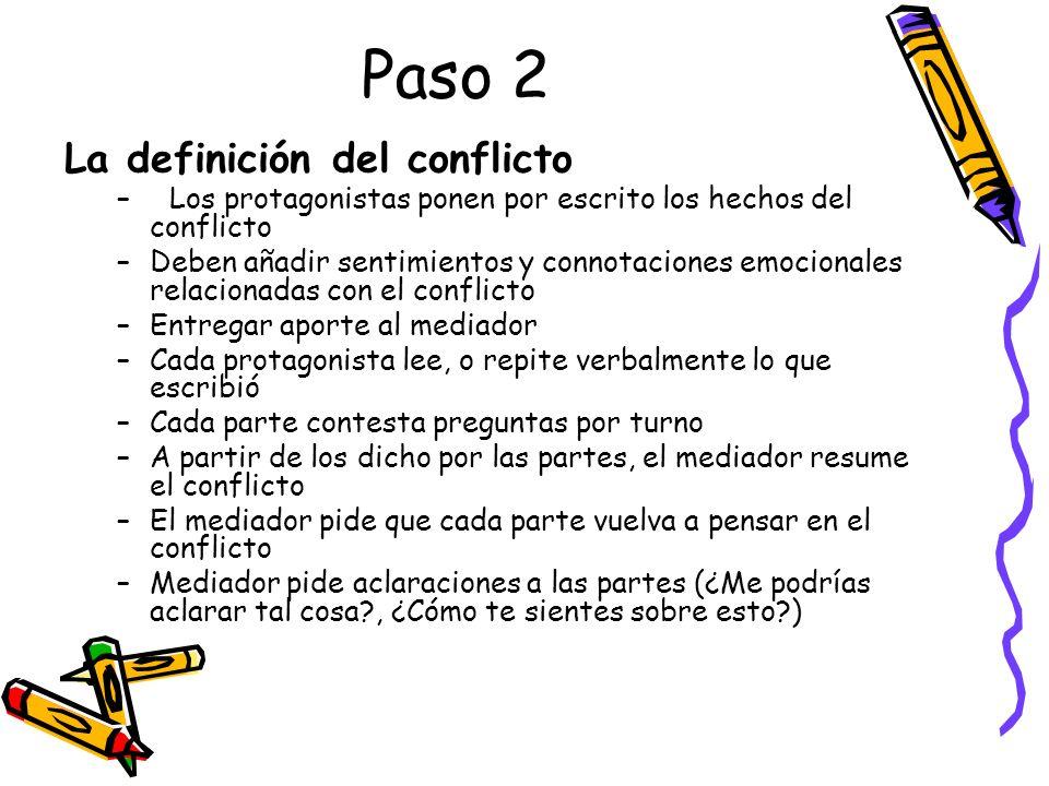 Paso 2 La definición del conflicto –Los protagonistas ponen por escrito los hechos del conflicto –Deben añadir sentimientos y connotaciones emocionale