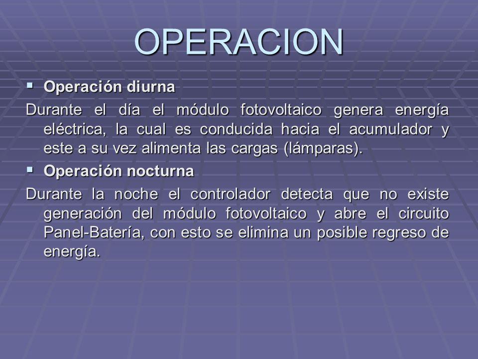 OPERACION Operación diurna Operación diurna Durante el día el módulo fotovoltaico genera energía eléctrica, la cual es conducida hacia el acumulador y