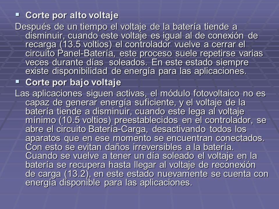 Corte por alto voltaje Corte por alto voltaje Después de un tiempo el voltaje de la batería tiende a disminuir, cuando este voltaje es igual al de con
