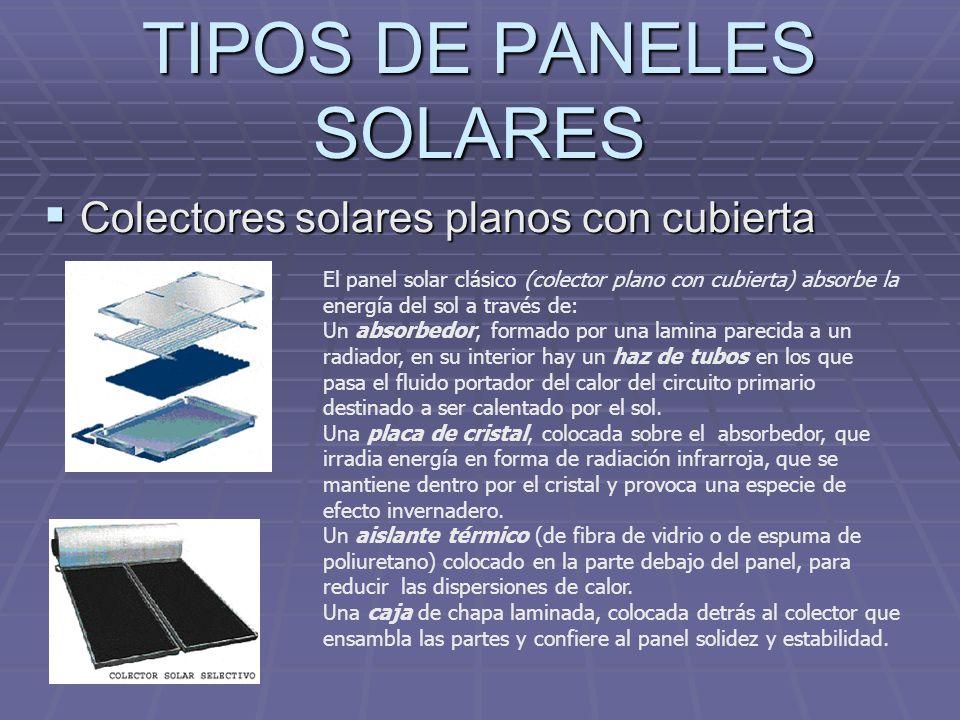 TIPOS DE PANELES SOLARES Colectores solares planos con cubierta Colectores solares planos con cubierta El panel solar clásico (colector plano con cubi