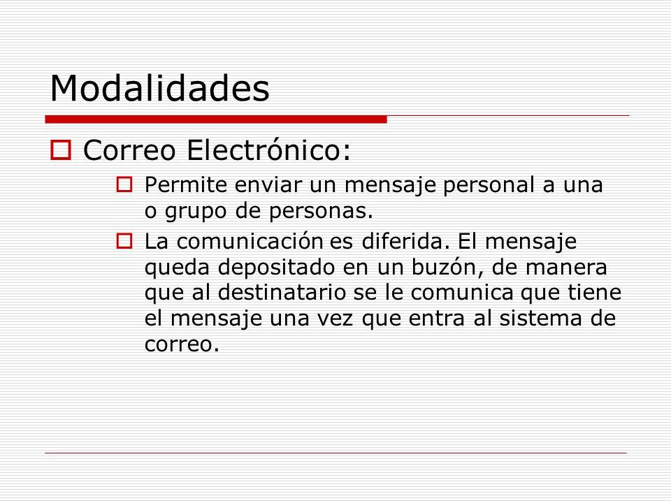 Modalidades Correo Electrónico: Permite enviar un mensaje personal a una o grupo de personas. La comunicación es diferida. El mensaje queda depositado
