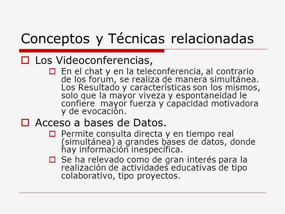 Conceptos y Técnicas relacionadas Los Videoconferencias, En el chat y en la teleconferencia, al contrario de los forum, se realiza de manera simultáne