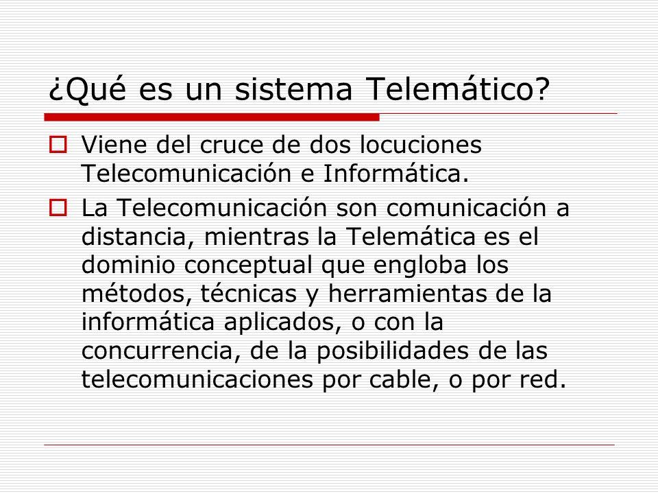 ¿Qué es un sistema Telemático? Viene del cruce de dos locuciones Telecomunicación e Informática. La Telecomunicación son comunicación a distancia, mie