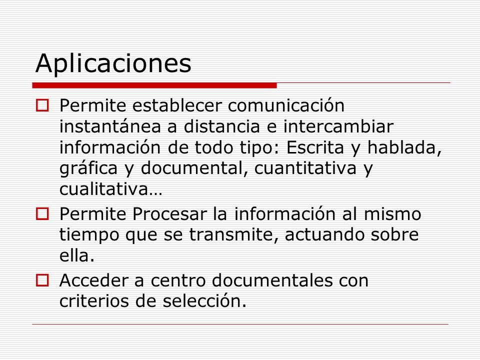 Aplicaciones Permite establecer comunicación instantánea a distancia e intercambiar información de todo tipo: Escrita y hablada, gráfica y documental,