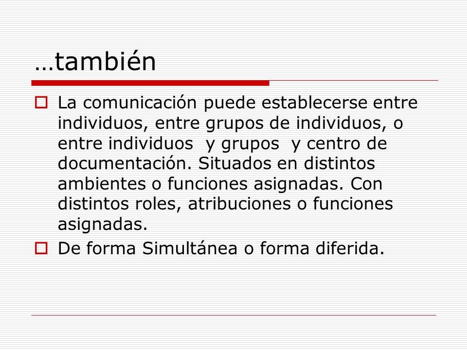 …también La comunicación puede establecerse entre individuos, entre grupos de individuos, o entre individuos y grupos y centro de documentación. Situa