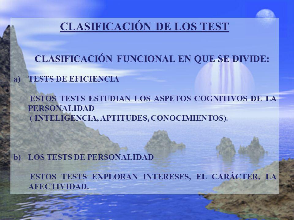 CLASIFICACIÓN DE LOS TEST CLASIFICACIÓN FUNCIONAL EN QUE SE DIVIDE: a)TESTS DE EFICIENCIA ESTOS TESTS ESTUDIAN LOS ASPETOS COGNITIVOS DE LA PERSONALID