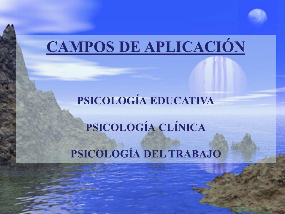 CAMPOS DE APLICACIÓN PSICOLOGÍA EDUCATIVA PSICOLOGÍA CLÍNICA PSICOLOGÍA DEL TRABAJO