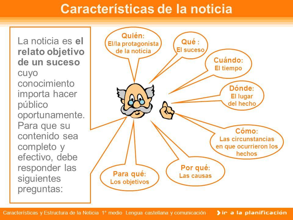 Características y Estructura de la Noticia 1° medio Lengua castellana y comunicación El género de la noticia La noticia, la entrevista, la reseña y el