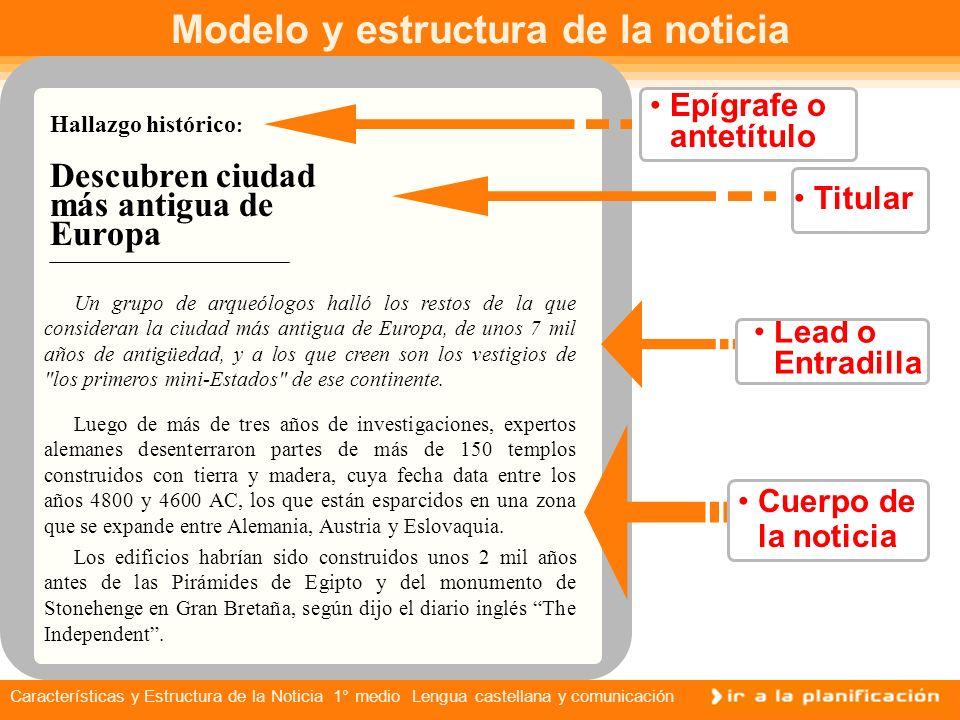 Características y Estructura de la Noticia 1° medio Lengua castellana y comunicación Características de la noticia La noticia es el relato objetivo de