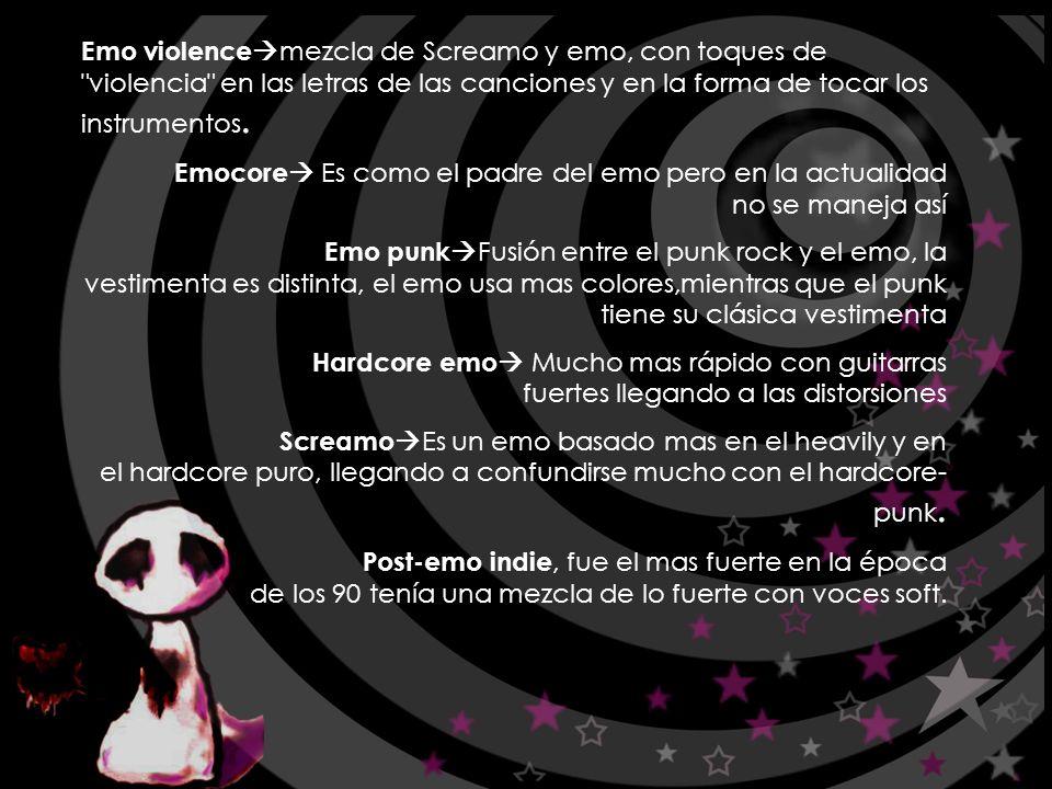 Emº XilEn$i$: (emo chilensis) El emo o emotional punk, nació del ochentero hardcore en EEUU, que deja ver sus profundas emociones, el primer disco considerado Emo es de 1984 ZEN ARCADE de HUSKER DU, ellso marcaron la pauta de música emocional agresiva, el lento melódico.