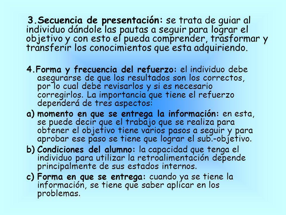 3.Secuencia de presentación: se trata de guiar al individuo dándole las pautas a seguir para lograr el objetivo y con esto el pueda comprender, trasfo