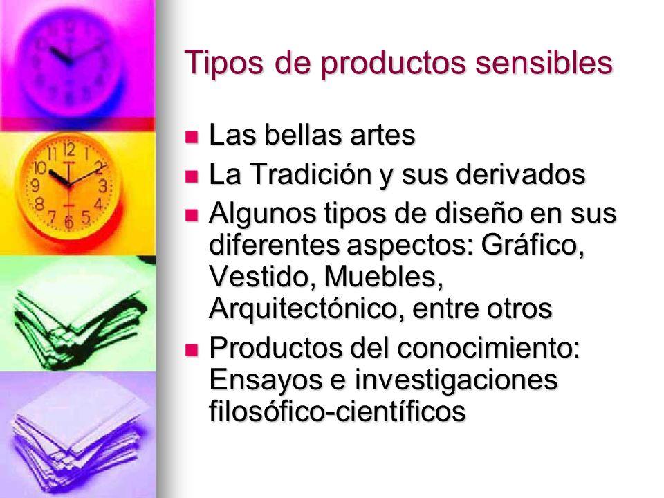 Tipos de productos sensibles Las bellas artes Las bellas artes La Tradición y sus derivados La Tradición y sus derivados Algunos tipos de diseño en su