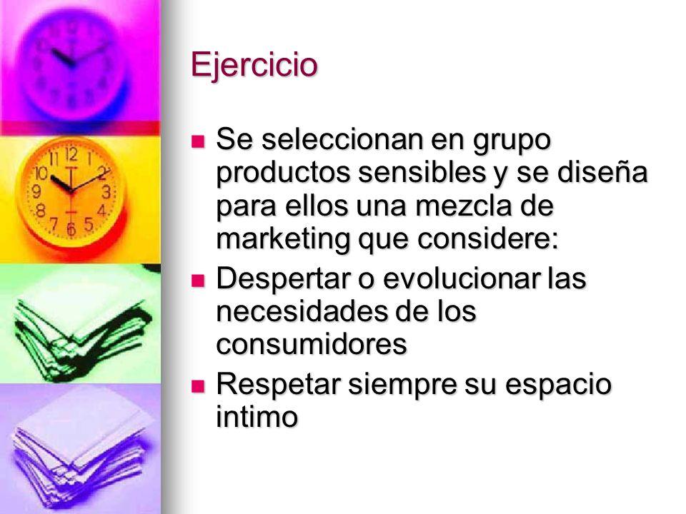 Ejercicio Se seleccionan en grupo productos sensibles y se diseña para ellos una mezcla de marketing que considere: Se seleccionan en grupo productos