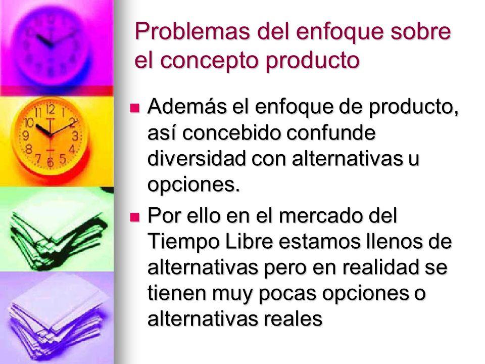 Problemas del enfoque sobre el concepto producto Además el enfoque de producto, así concebido confunde diversidad con alternativas u opciones. Además