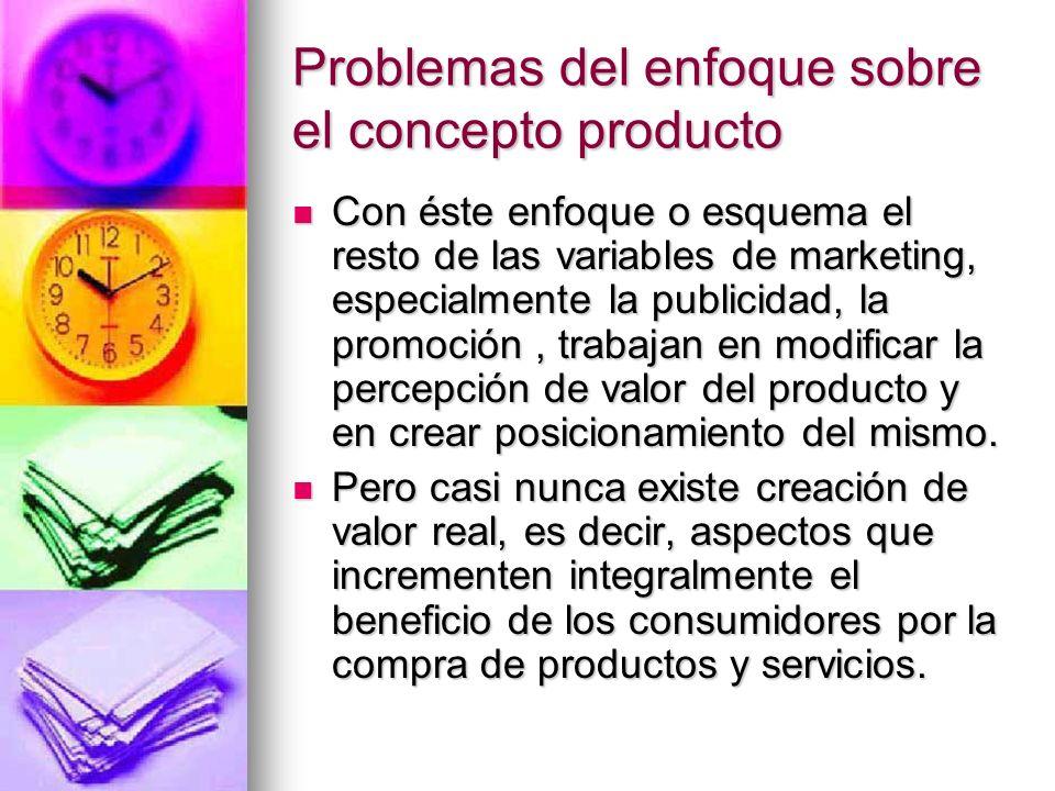 Problemas del enfoque sobre el concepto producto Con éste enfoque o esquema el resto de las variables de marketing, especialmente la publicidad, la pr
