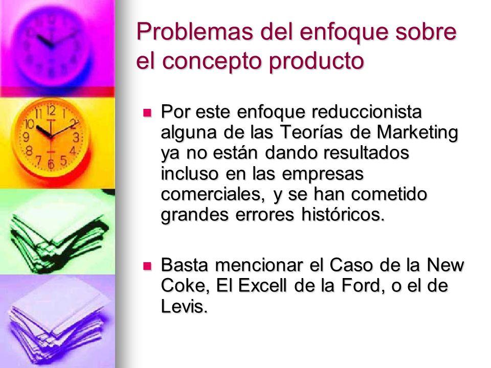 Problemas del enfoque sobre el concepto producto Por este enfoque reduccionista alguna de las Teorías de Marketing ya no están dando resultados inclus