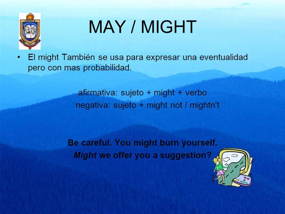 MAY / MIGHT El might También se usa para expresar una eventualidad pero con mas probabilidad. afirmativa: sujeto + might + verbo negativa: sujeto + mi