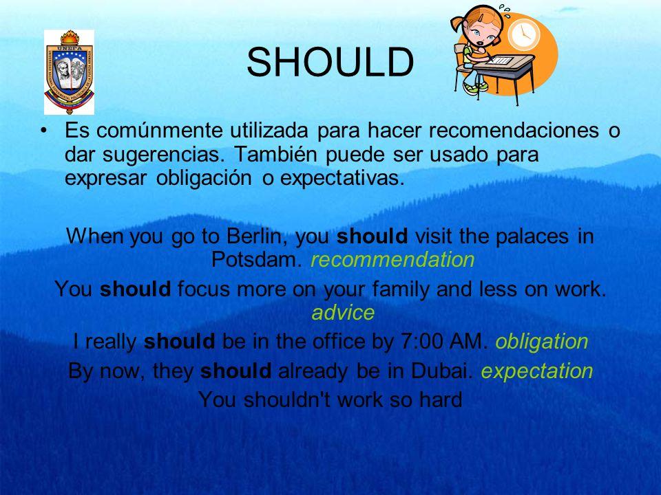 SHOULD Es comúnmente utilizada para hacer recomendaciones o dar sugerencias. También puede ser usado para expresar obligación o expectativas. When you