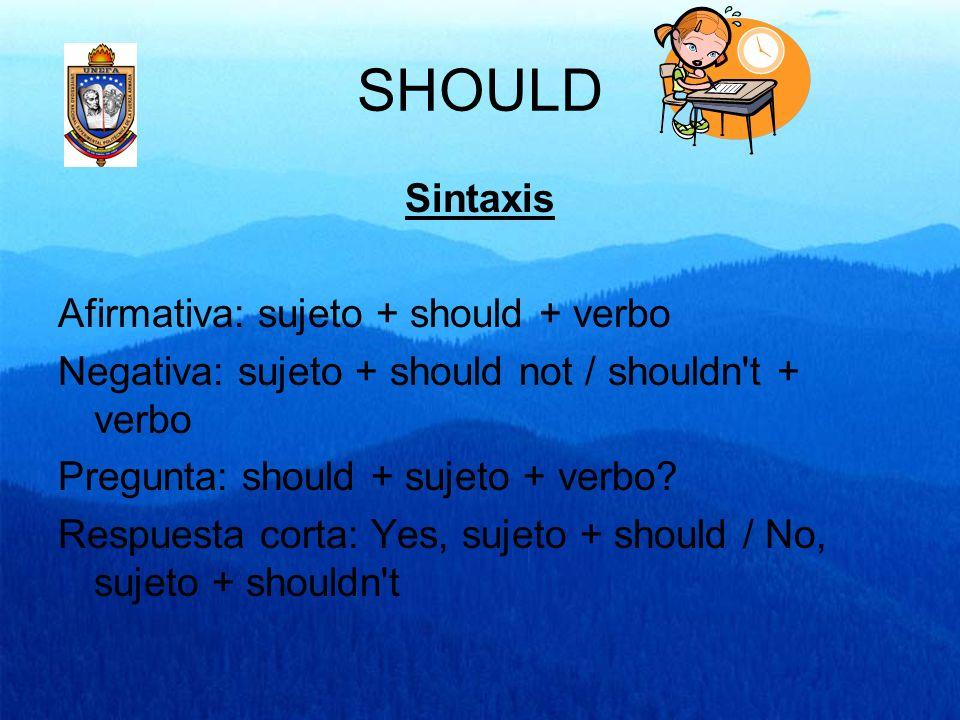 SHOULD Sintaxis Afirmativa: sujeto + should + verbo Negativa: sujeto + should not / shouldn't + verbo Pregunta: should + sujeto + verbo? Respuesta cor