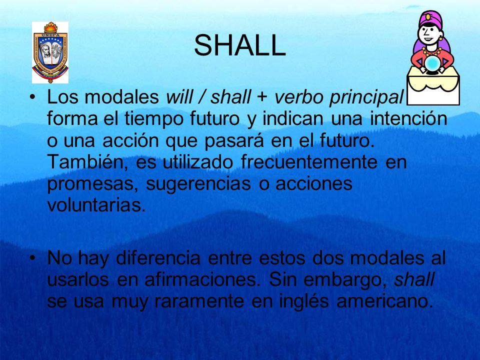 SHALL Los modales will / shall + verbo principal forma el tiempo futuro y indican una intención o una acción que pasará en el futuro. También, es util