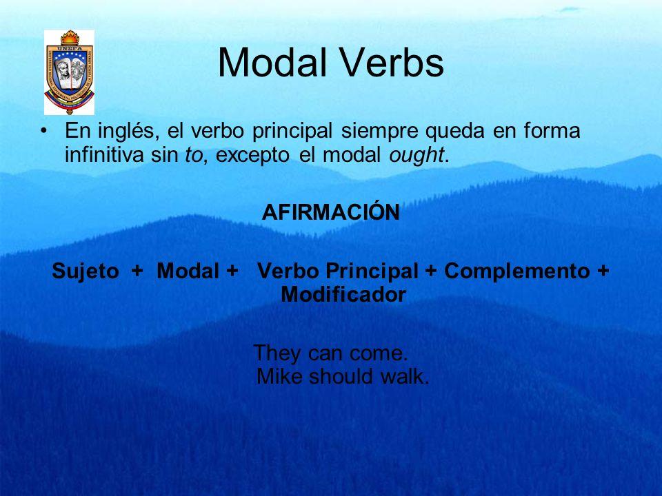 Modal Verbs En inglés, el verbo principal siempre queda en forma infinitiva sin to, excepto el modal ought. AFIRMACIÓN Sujeto + Modal + Verbo Principa