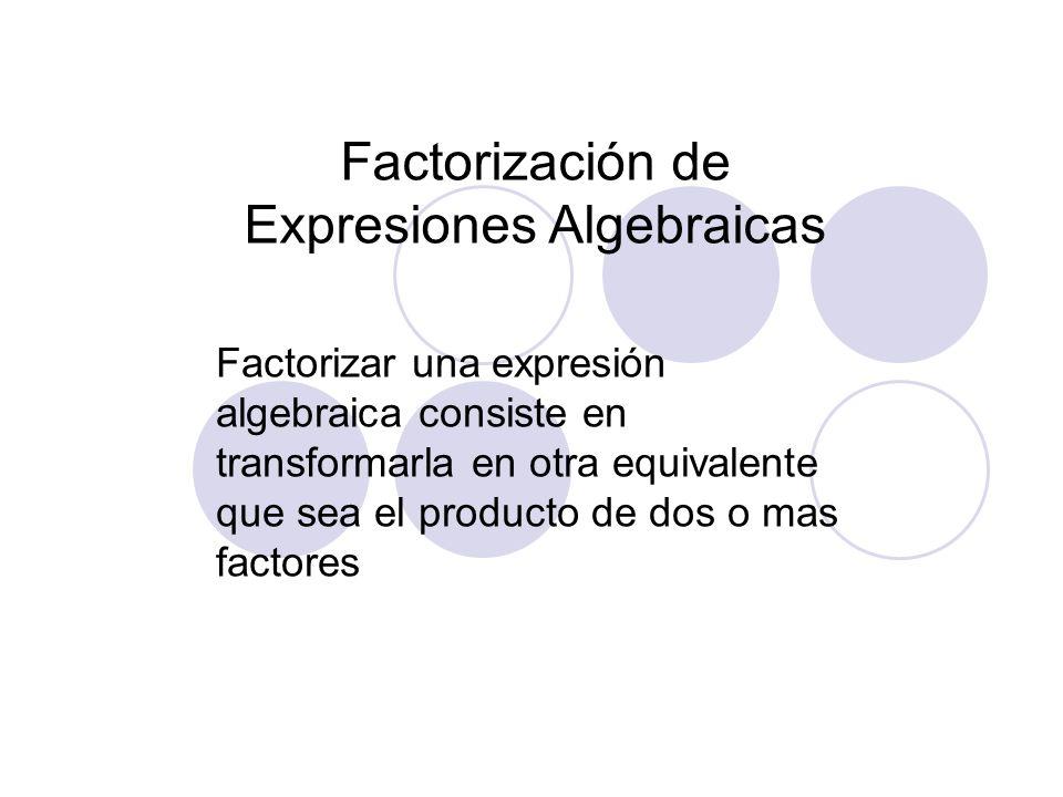 Factorización de Expresiones Algebraicas Factorizar una expresión algebraica consiste en transformarla en otra equivalente que sea el producto de dos