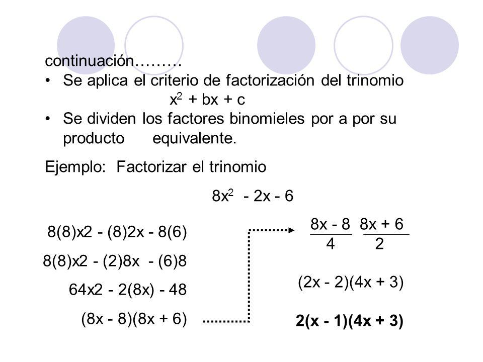 continuación……… Se aplica el criterio de factorización del trinomio. x 2 + bx + c Se dividen los factores binomieles por a por su producto. equivalent