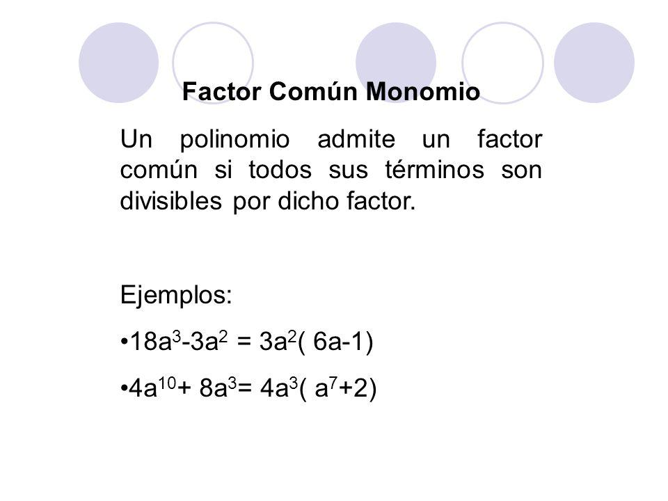 Factor Común Monomio Un polinomio admite un factor común si todos sus términos son divisibles por dicho factor. Ejemplos: 18a 3 -3a 2 = 3a 2 ( 6a-1) 4