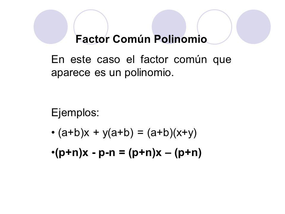 Factor Común Polinomio En este caso el factor común que aparece es un polinomio. Ejemplos: (a+b)x + y(a+b) = (a+b)(x+y) (p+n)x - p-n = (p+n)x – (p+n)